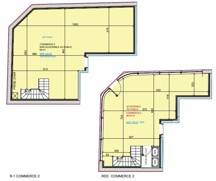 Plan commerce 98m²