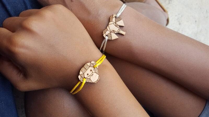 Bracelets Treez éléphant et bonobo