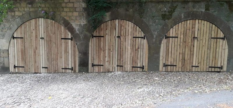 softwood arch gates with old fashioned hinges