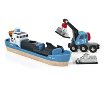 BRIO  Container Ship and Crane Wagon 33534 for Wooden Train Set | 33534