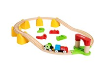 BRIO My First Railway Battery Powered Train Set 33710 25 Piece Wooden Train Set | 33710