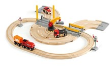 BRIO Rail & Road Crane Set 33208 26 Piece Wooden Railway and Road Set | 33208