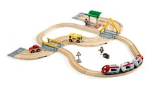 BRIO Rail & Road Travel Set 33209 33 Piece Wooden Train Set | 33209