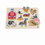 HAPE E1402 Farm Animals Peg Puzzle E1402   24 months