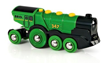 BRIO Battery Powered Big Green Action Locomotive 33593 Train for Wooden Railway