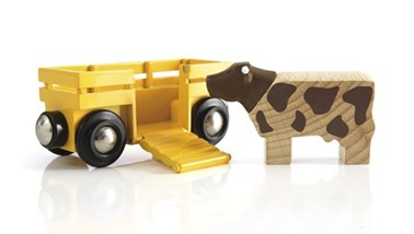 BRIO Cow & Wagon 33406 Wooden Railway Extra Wagon