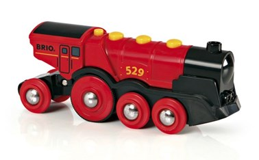 BRIO Battery Powered Mighty Red Action Locomotive 33592 for wooden Railway