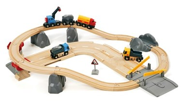 BRIO Rail and Road Loading Set 33210 32 piece Wooden Railway Set - Great Value