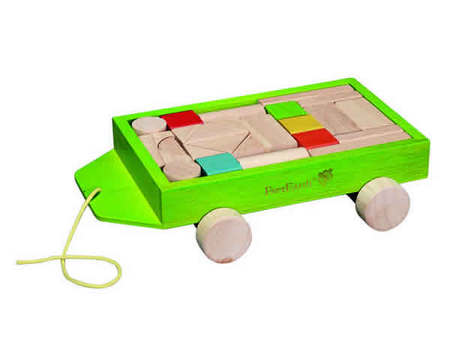 EverEarth - Wooden 24 Pieces Block Set With Pull Along Wagon