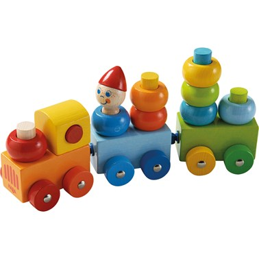 HABA Discovery Train Curly Color 005126 17 Piece Wooden Stacking Toddler Toy