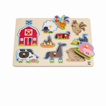 HAPE E1402 Farm Animals Peg Puzzle E1402