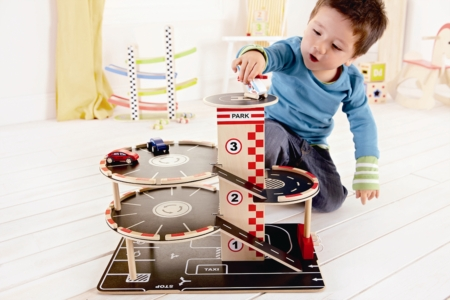 HAPE Park and Go Garage E3002 Toddler Wooden Pretend Play Car Park