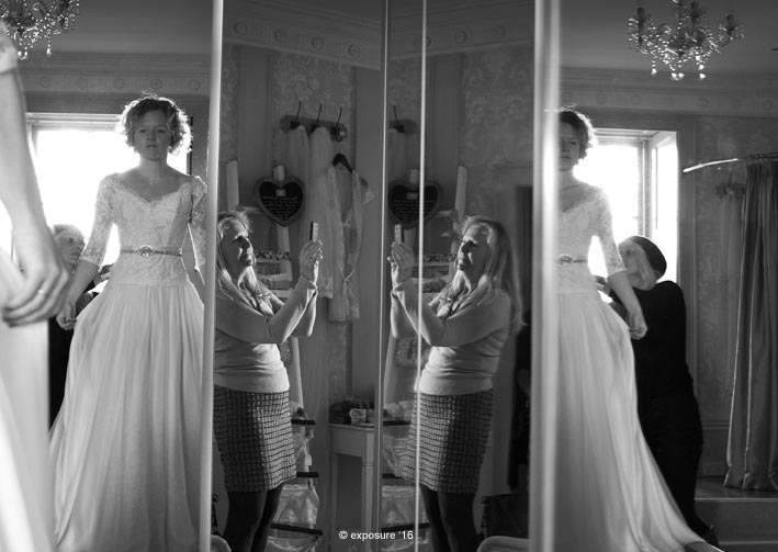 Documentary photos of Jenny Wren trying on wedding dresses with Mum, at The Bridal House of Cornwall, Truro 8th February 2016