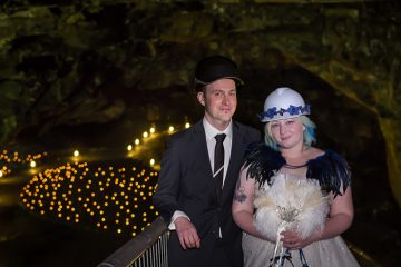 Toni and Camilla's cool Carnglaze Caverns wedding