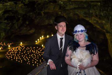 Toni and Camilla's cool Carnglaze Caverns wedding