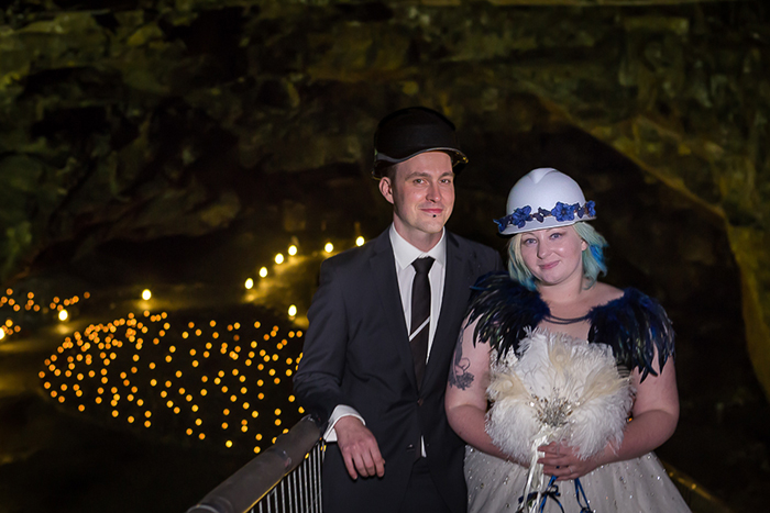 bride and groom at carnglaze caverns wedding in Cornwall
