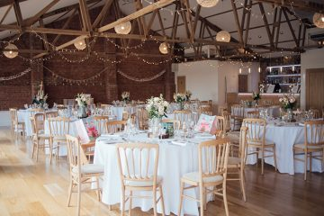 red brick barn at the green cornwall wedding venue