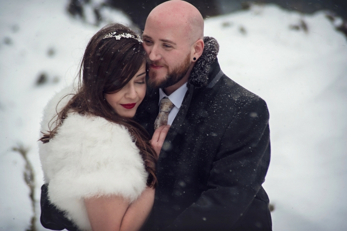 Rachael and Luke's snowy Polhawn Fort wedding {images by Melanie Barnfield}