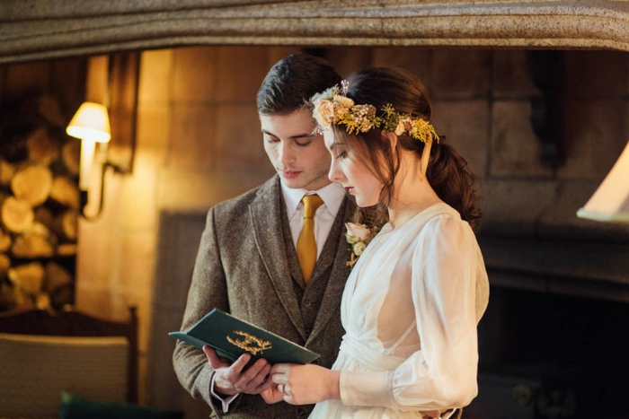 Fireside elopement at Coombe Trenchard