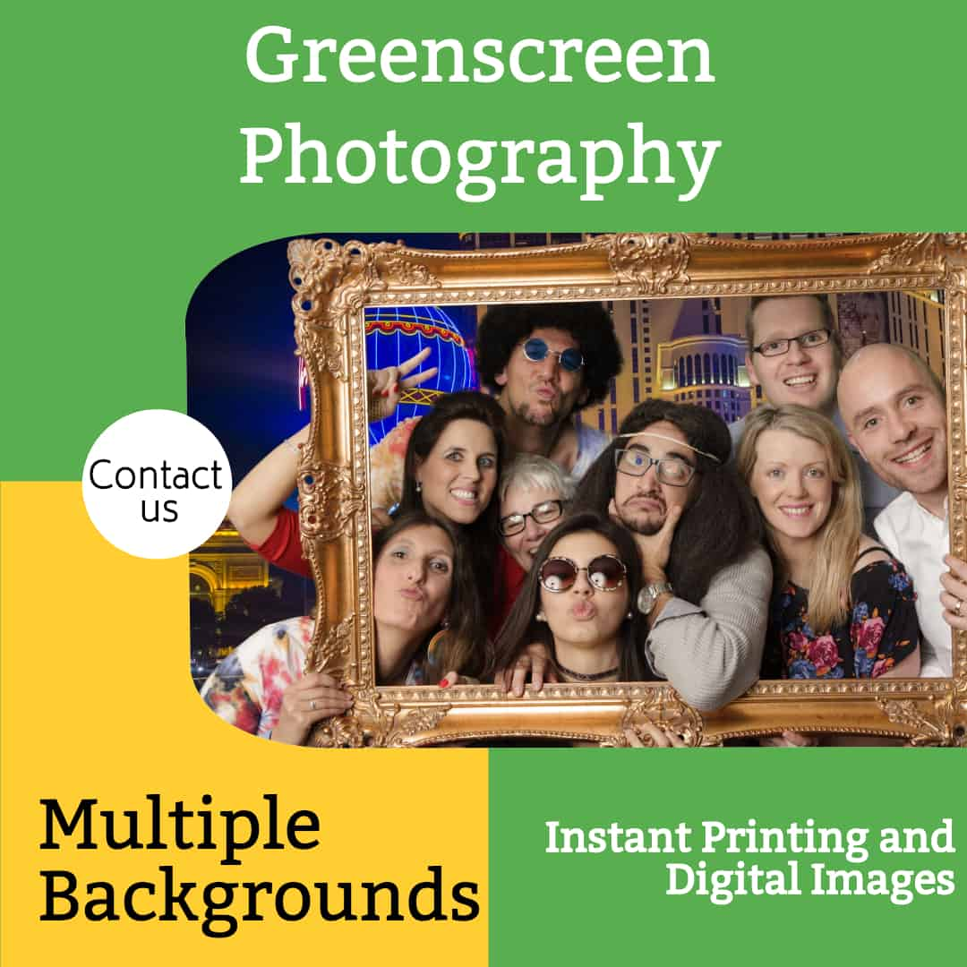 Photographer Greenscreen Studio with Multiple Backgrounds and Instant Printing