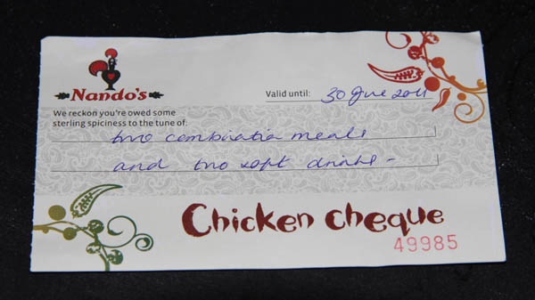 Nandos Chicken Cheque