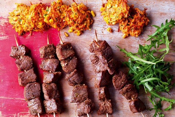 Anticuchos Beef Skewers with Sweetcorn Fritters