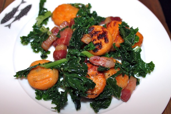 Sweet Potato and Sage Gnocchi with Lardons, Kale and Pecans