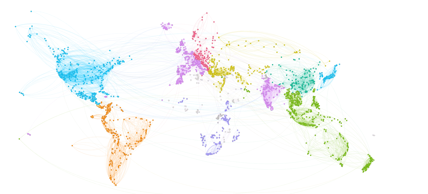 The world drawn with travel itineraries a world drawn with triphappy user travel itineraries beautiful data visualization gumiabroncs Images