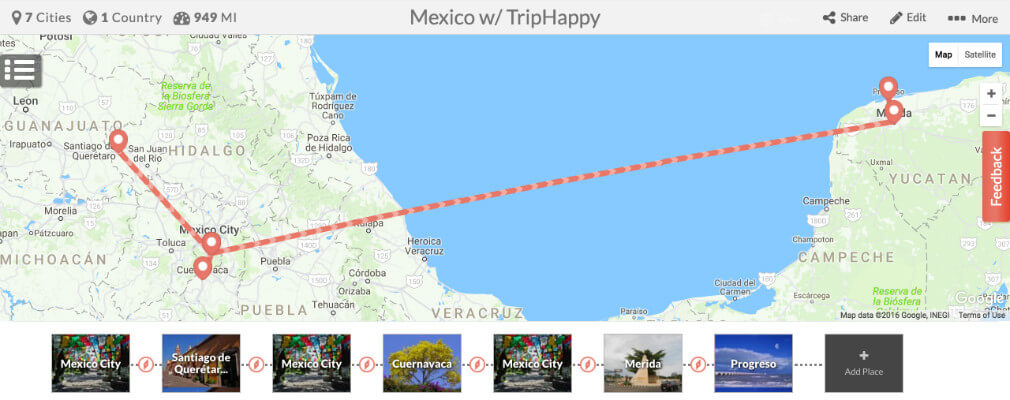 Map your trip on TripHappy