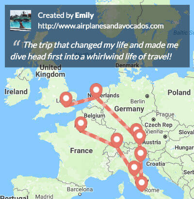 Build links to your travel blog by linking and sharing your trip maps