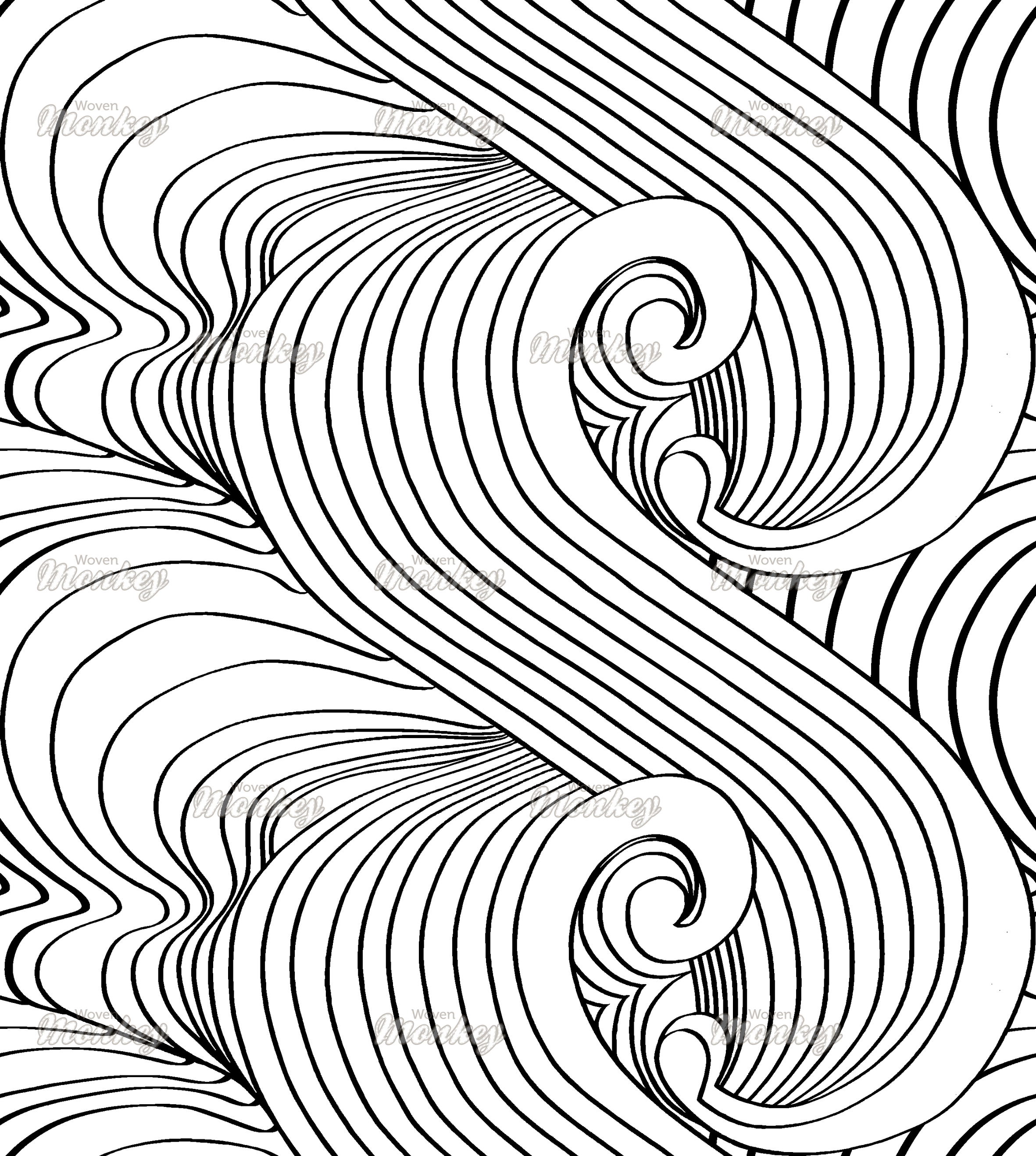 Ocean Wave Black And White | Fabric | Woven Monkey