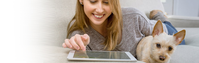 woman on tablet computer