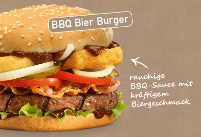 Aktions-Burger von 17.04. bis 07.05.2019: BBQ Bier Burger