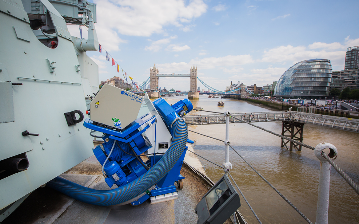 Our 350E Steel Blasting Machine on the HMS Belfast