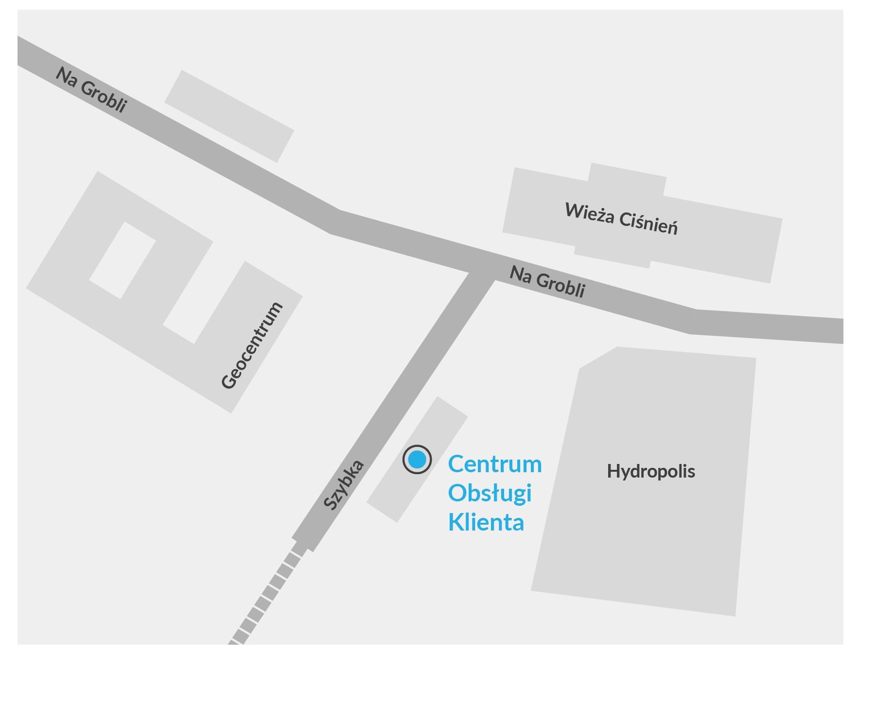 Mapa pokazująca położenie budynku Centrum Obsługi Klienta względem wieży ciśnień, Hydropolis oraz Geocentrum