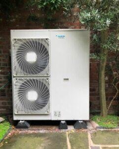 A Daikin air source heat pump installed by Conscious Energy