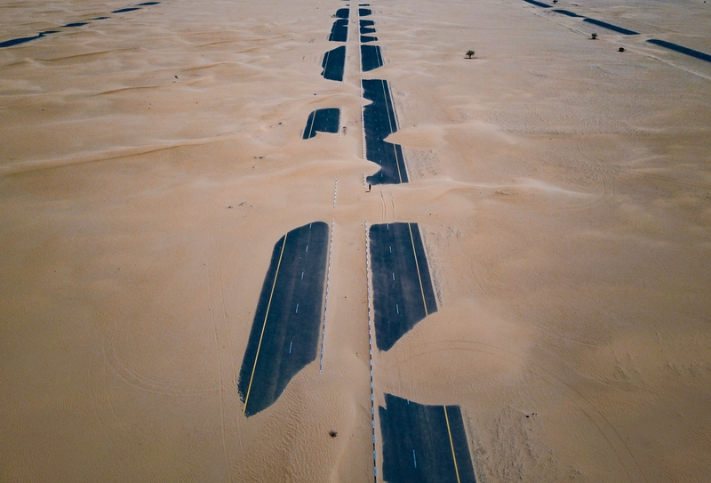 Desert road in Dubai, United Arab Emirates (U.A.E.)