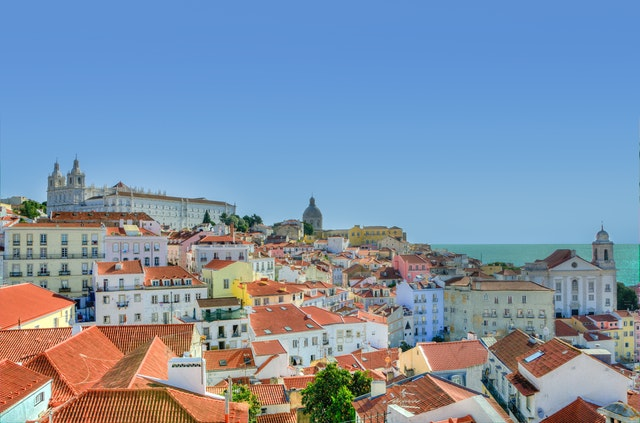 Lisbon city houses and sea view