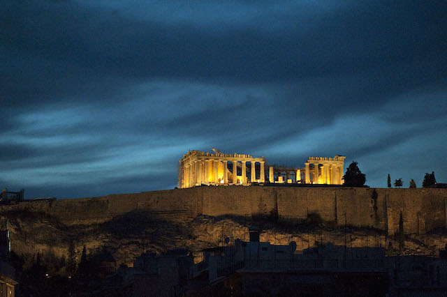 Athens night views of the Parthenon