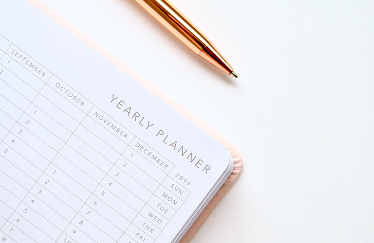 A pen with a year planner