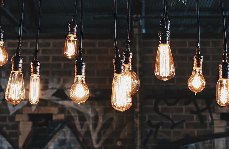 A series of decorative light bulbs.