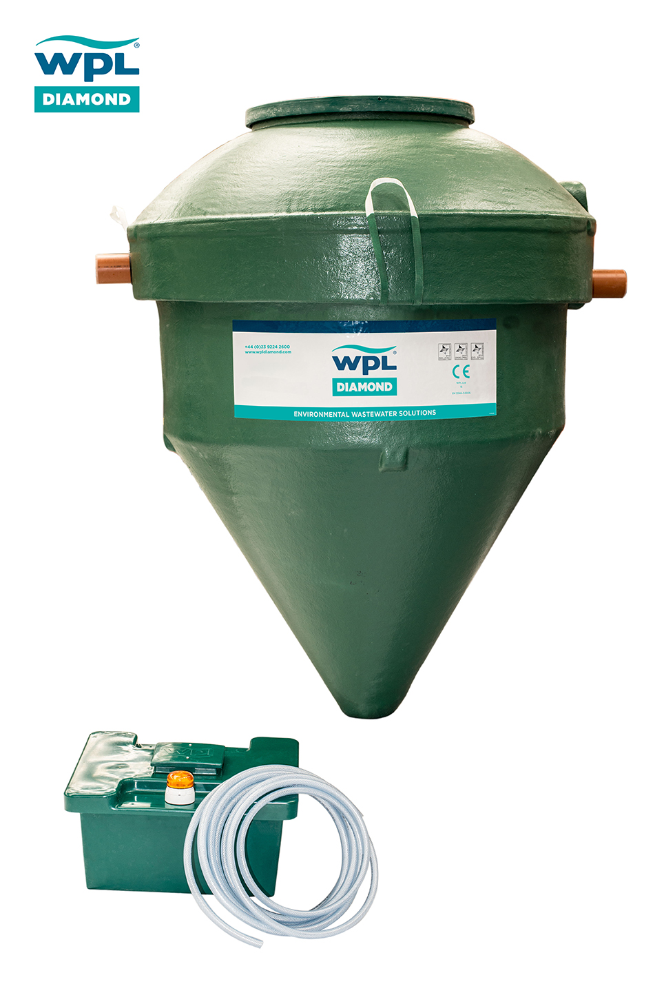 Image of the WPL Diamond DMS package wastewater (sewage) treatment tank and the kisok which houses the blowers