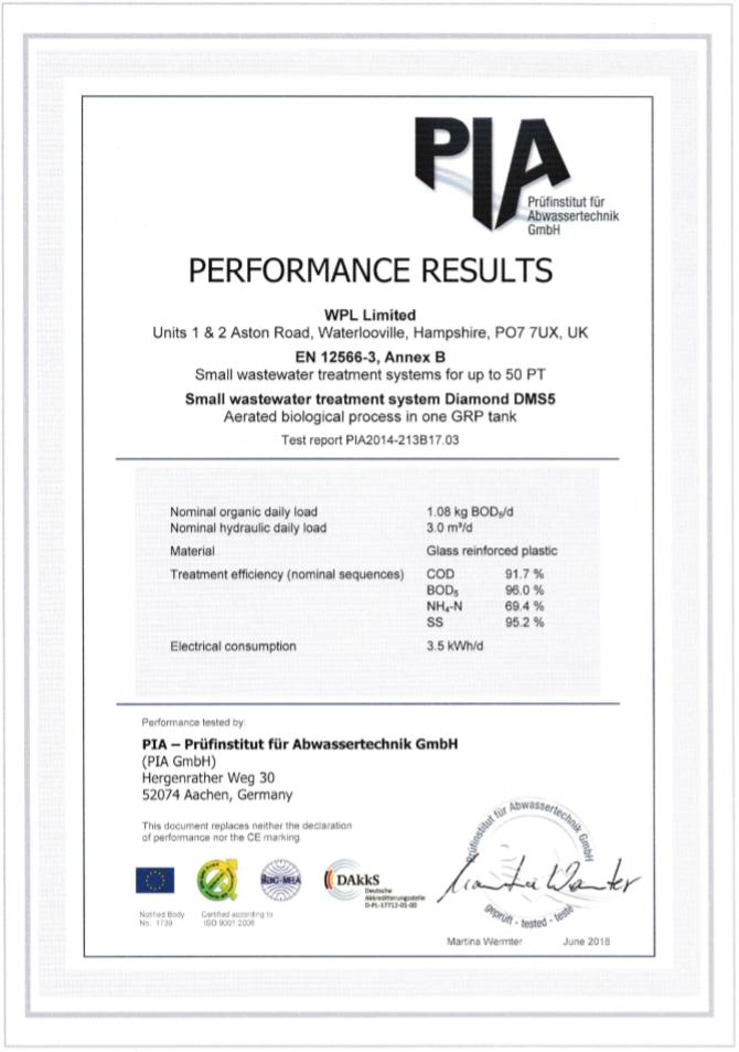 WPL Diamond - Image of DMS5 Certificate