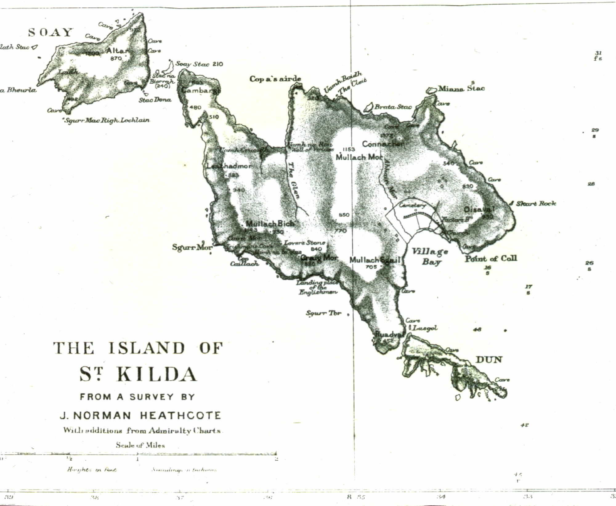 Fig. 3: Norman Heathcote's map of the St Kilda archipelago