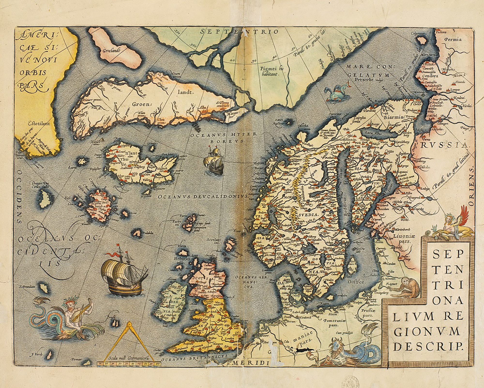 Fig. 2: A map of Europe dated 1570, with Hirta just north-west of the Hebrides, National Library of Norway