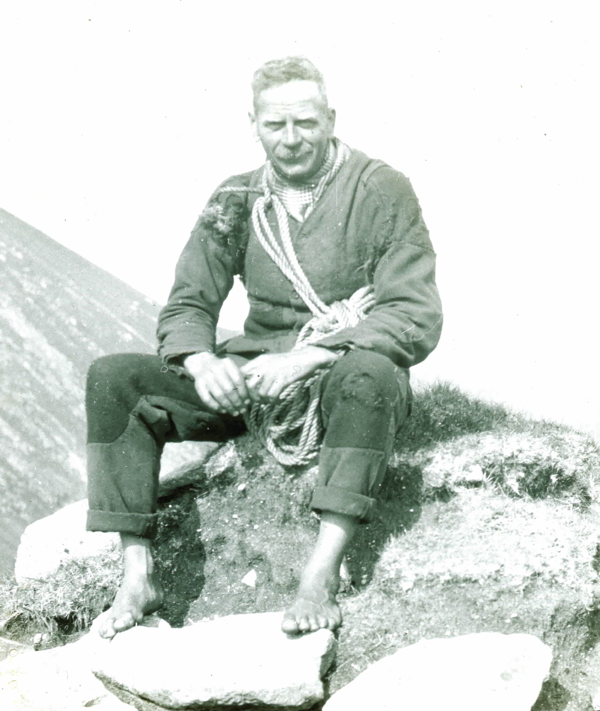 Fig. 7: Glass plate negative of Ewen MacDonald of St Kilda, #107 © National Trust for Scotland, St Kilda
