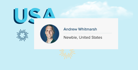 Wall Street English Employee Andrew and United States Banner
