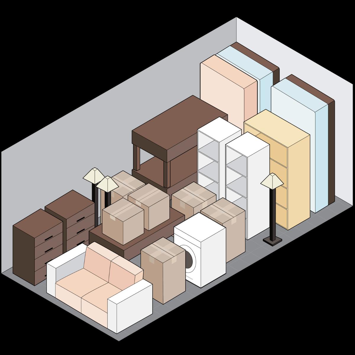 [filled self-storage unit drawing]