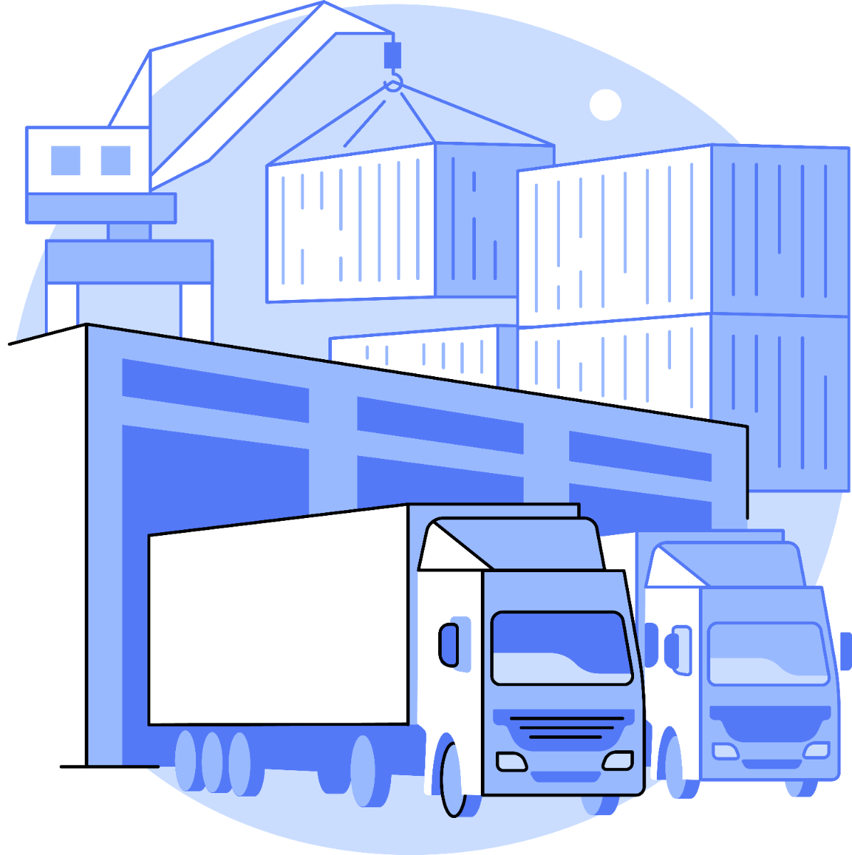 [moving trucks in front of a storage facility illustration]