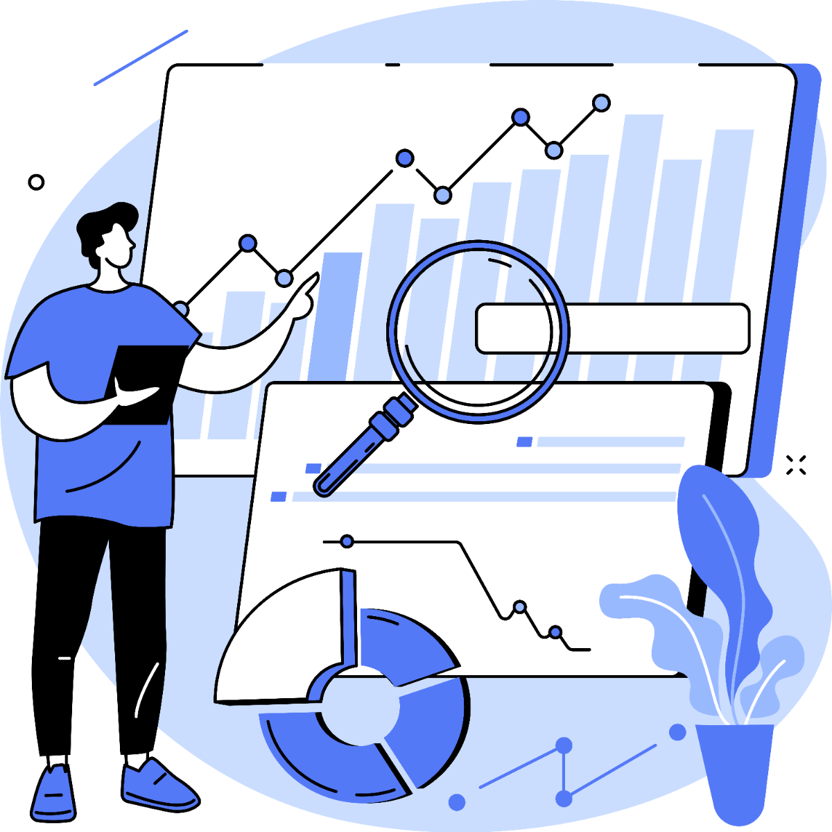 person carrying out financial projects and demographic analysis